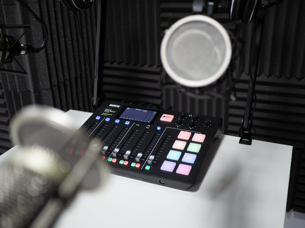 Sheffield Podcast Recording Studio Interior - RODECaster Pro and Heil PR40 mics